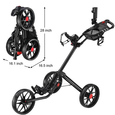 CaddyTek Deluxe Quad-Fold Golf Push Cart